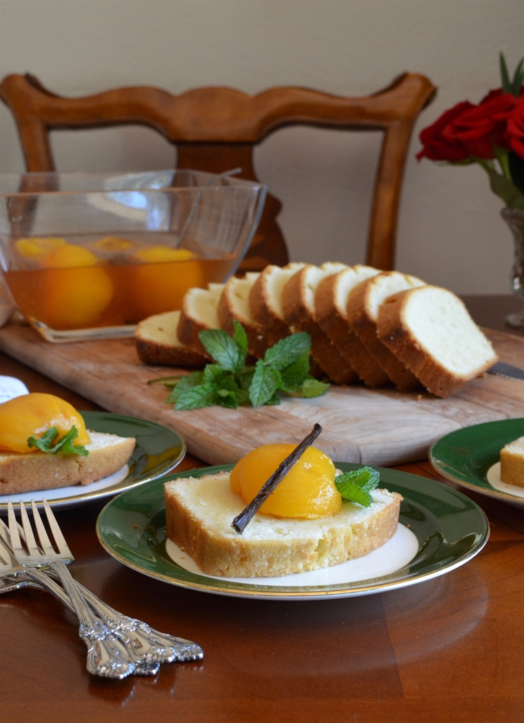 French Pound Cake with Poached Peaches