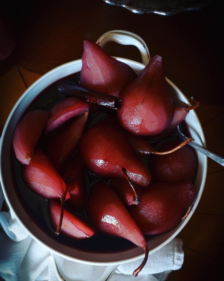 red wine poached pears bowl