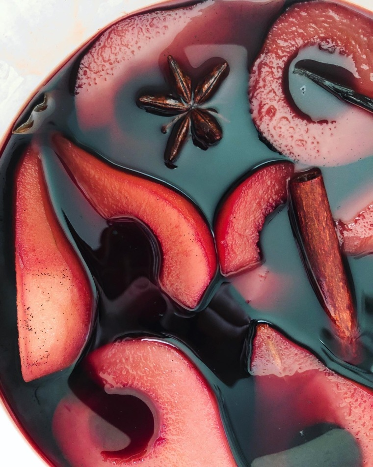 red wine poached pears potJPG