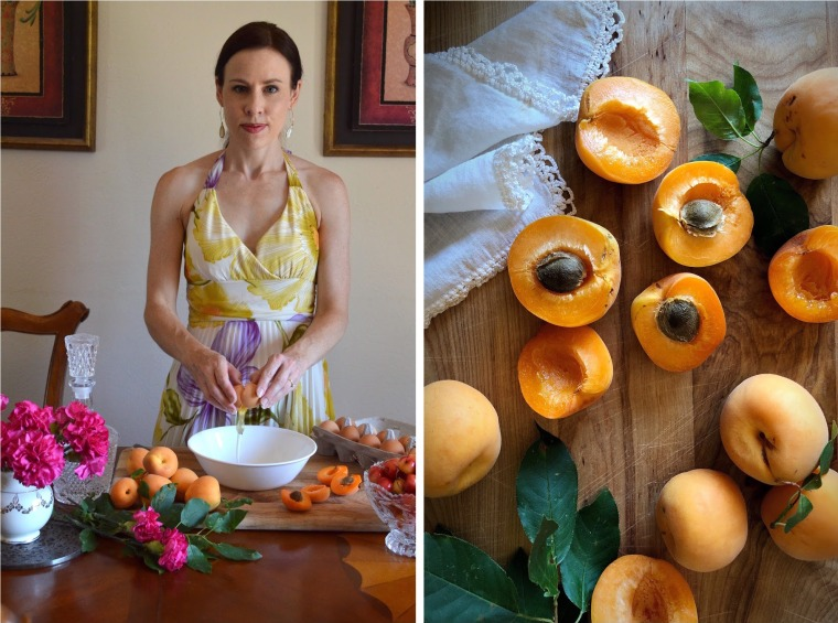 Making Clafoutis with apricots
