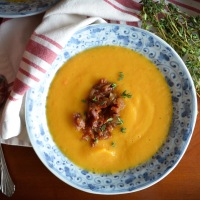 Roasted Butternut Squash Soup with Bourbon Bacon Jam