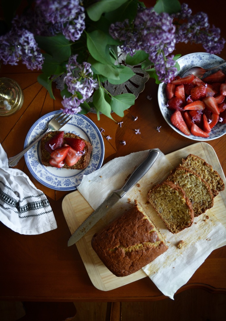 Banana Bread with Strawberries and Lilac