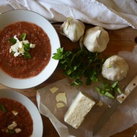 Summer Gazpacho with Feta and Oregano