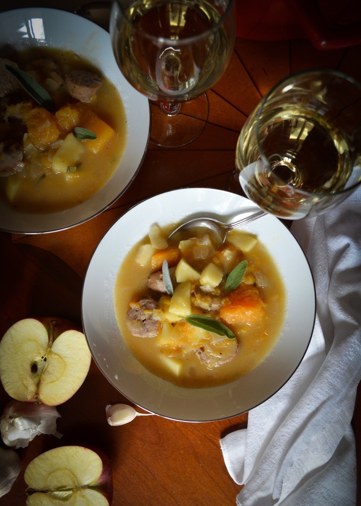 Sausage, butternut and apple stew recipe