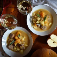 Roasted Sausage, Butternut Squash and Apple Stew