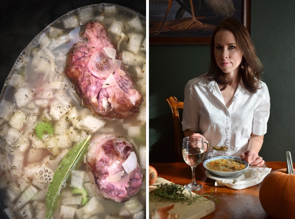 Recipe for winter vegetable soup with oxtails by Rebecca Sherrow