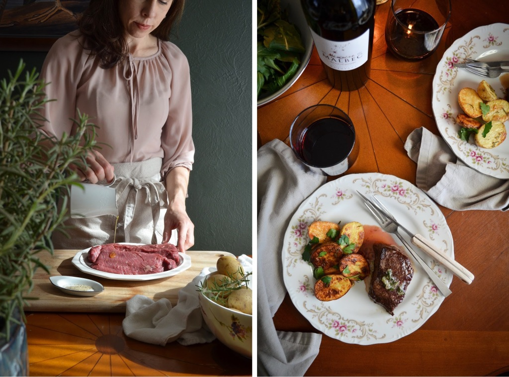 Recipe for french butter drizzled steak and rosemary potatoes - perfect for Valentines Day