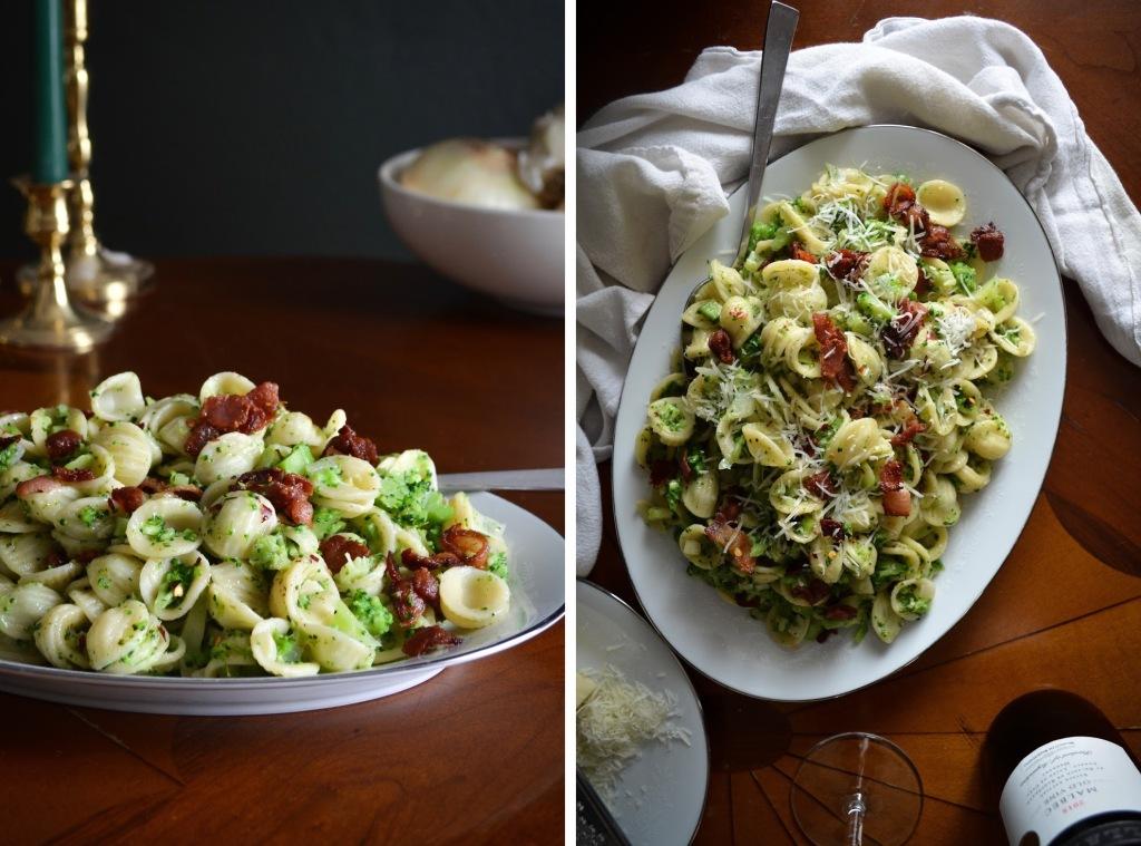 Orecchiette with Broccoli and bacon recipe