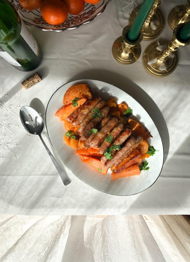 Sheet pan dinner sausage with sweet potatoes and mandarine oranges
