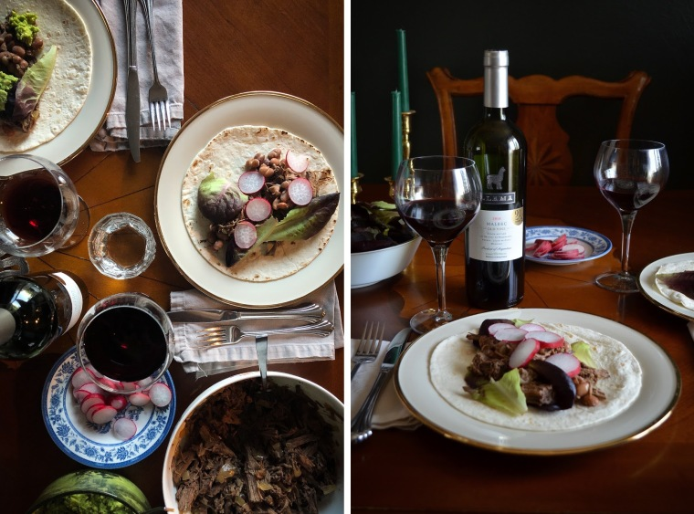 Wine pairing - Llama Malbec with Barbacoa burritos