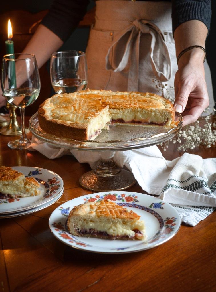 Gateau basque with cherries and cream recipe