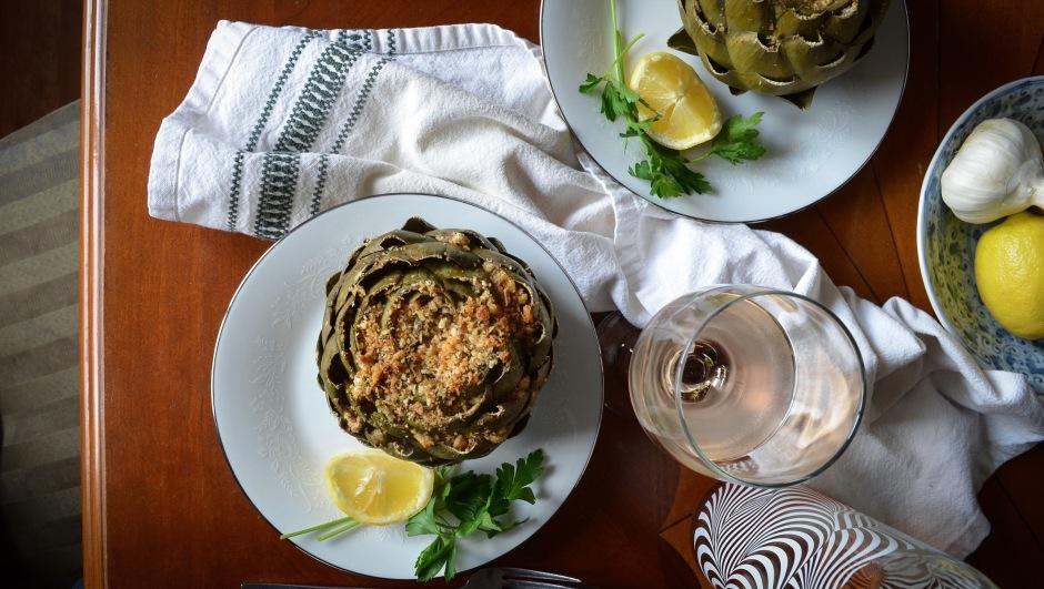 greek style stuffed artichoke