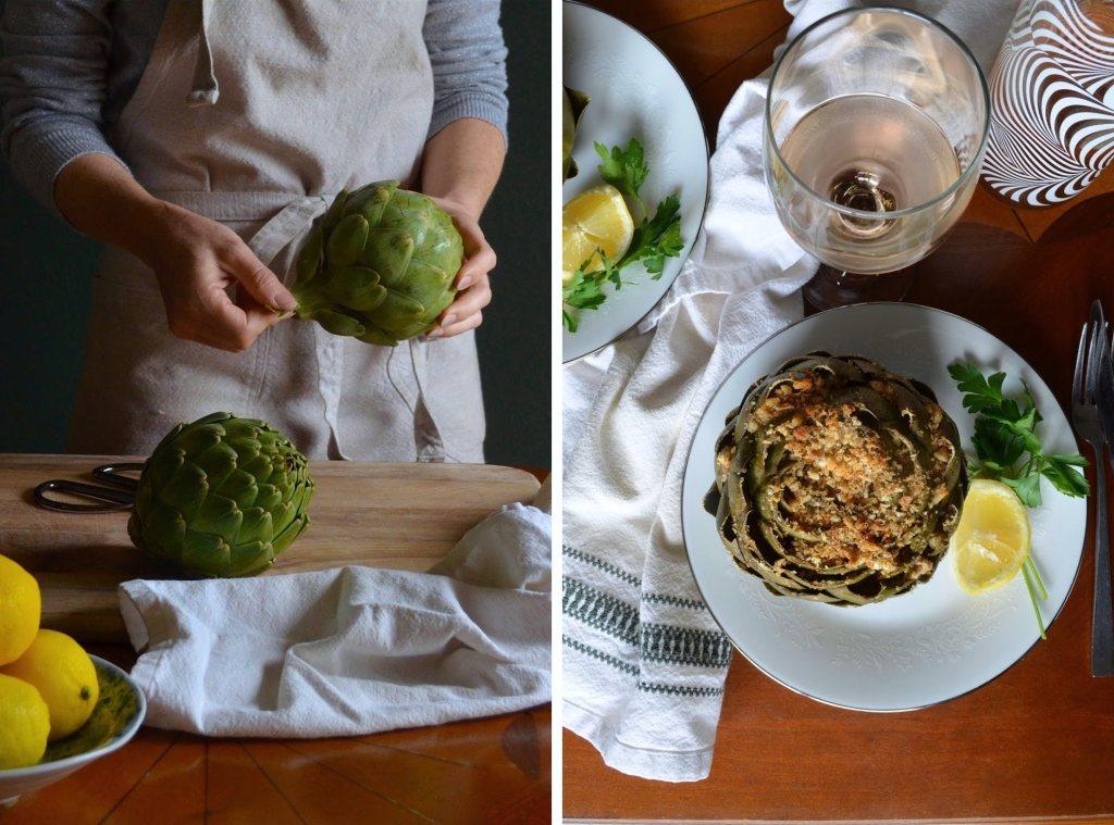 How to make greek-style stuffed artichokes.
