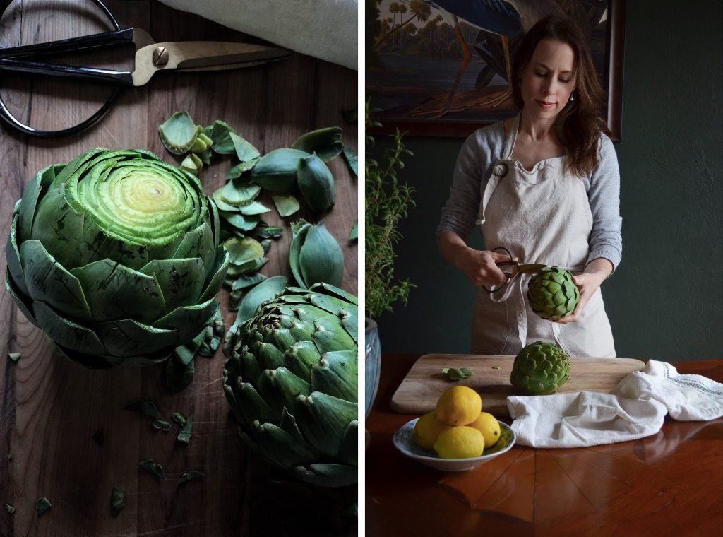 How to prepare artichokes and a recipe for Greek-inspired stuffed artichokes.