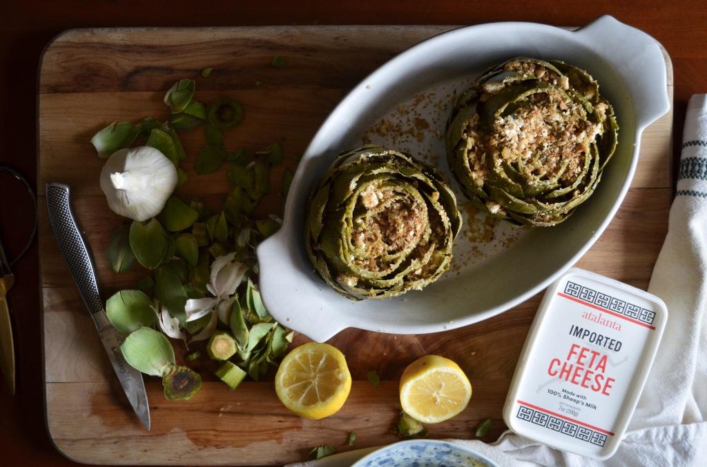 Recipe for greek-style stuffed artichokes.